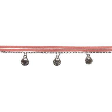 breloques coquillagse et chaîne argentées et suédine rose