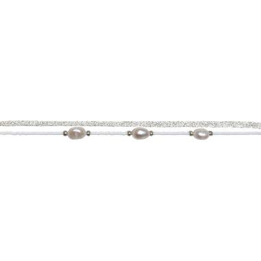 Perles baroques, miyuki et cordon mokuba blancs argentés