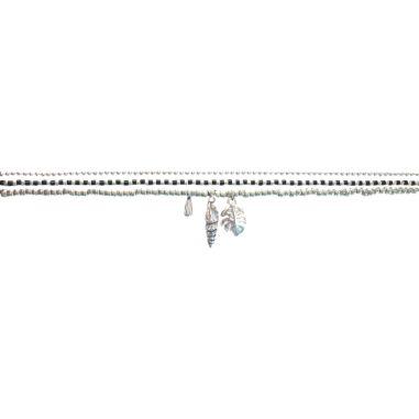Chaine Argent 925, Perles miyuki noir et argenté avec breloques argentées
