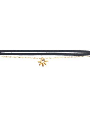 lien iconique hiilos noir avec breloque en argent 925 doré