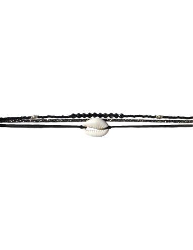 cauri blanc, cordon et toupies swarovski noir argenté