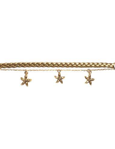 breloque étoiles de mer dorées et Suédine tresse dorée