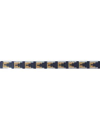 Perles Miyuki bleu et dorées