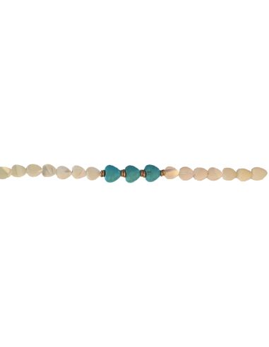 Heishi Blue White Yellow and golden beads