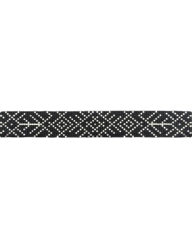 Lien Tissage Perles Black and Silver