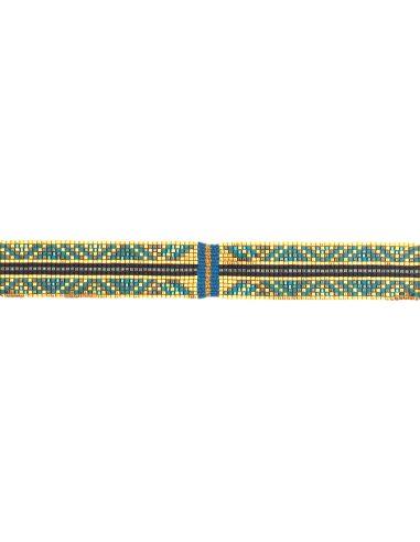 Lien Tissage Perles Bleues et or avec fil de soie
