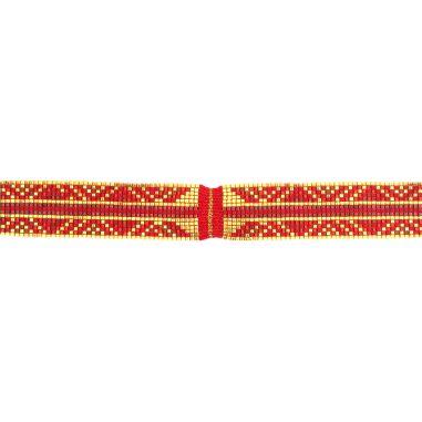 Lien Tissage Perles Rouges et or avec fil de soie