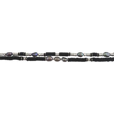 Heishi Black, Silver et perles d'eau douce