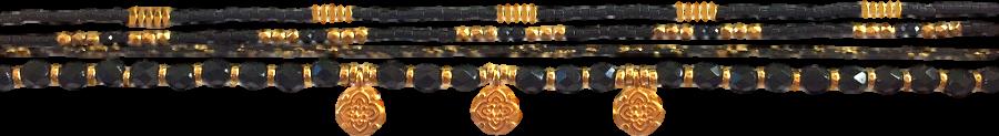 lien-multi-rang-noir-et-dore-avec-breloque