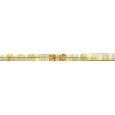 Seed beads white and gold with silk threads