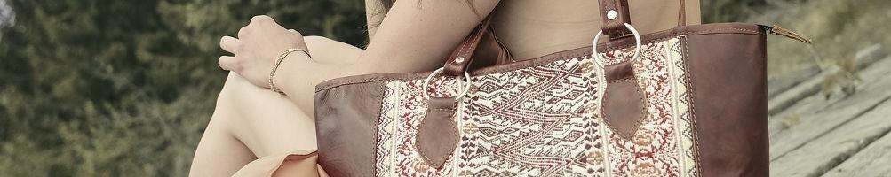 Hiilos : Sacs et cabas ethniques en cuir et huipil (tissu Maya)