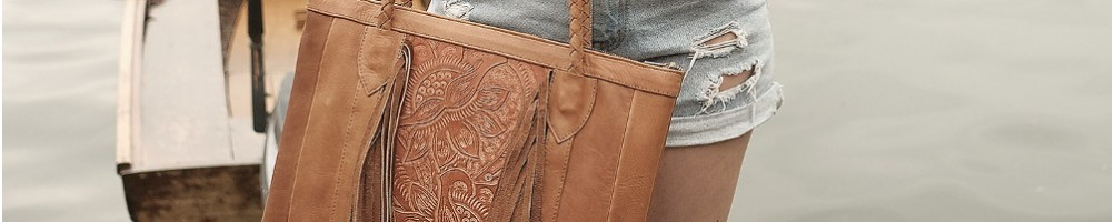 Hiilos : Luxury Ethnic Tote Bag made with Tooled Leather. Boho Style !