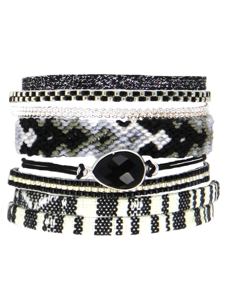Bracelet Brésilien Multirang Manchette Multilien Noir Argenté